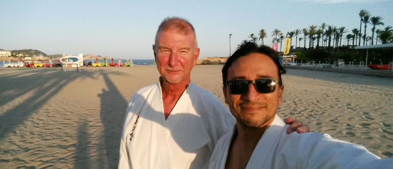 Peter Graham Ford 1st Dan with Sensei Geovanny Sanchez at the Arenal beach Jávea
